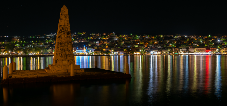 View of Argostoli at night