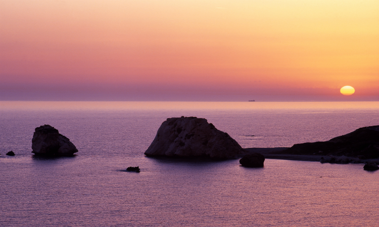 Sunsets at Aphrodite's Rock, cyprus