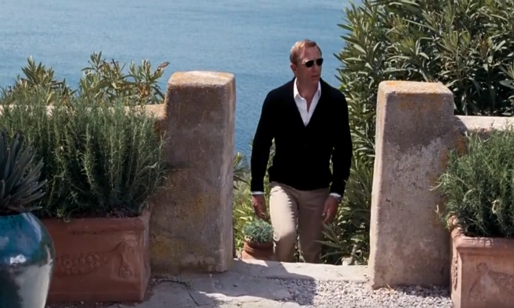James Bond (aka Daniel Craig) in the grounds of Talamon Tower in Quantum of Solace