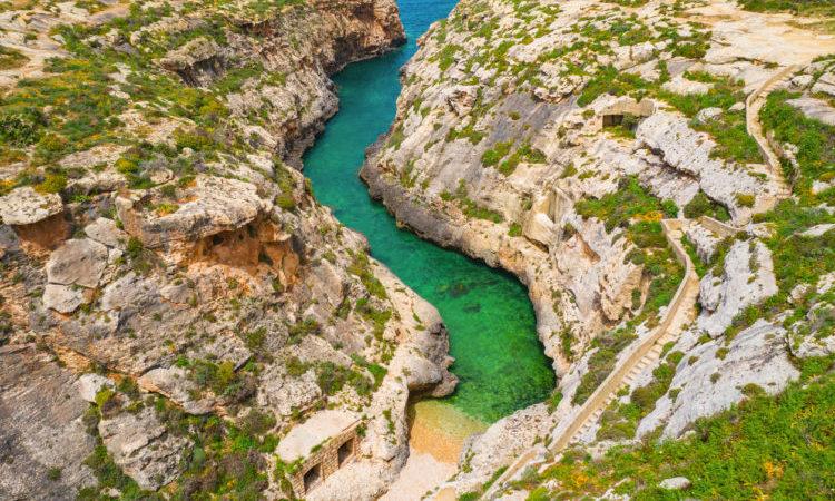 Aerial view of Wied il-Ghasri. Gozo island. Malta