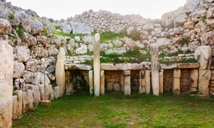 "Neolithic megalith temple complex of Ggantija (Tempji Neolitici Tal-Ggantija, ""Giant Tower"") on the island of Gozo in Malta."