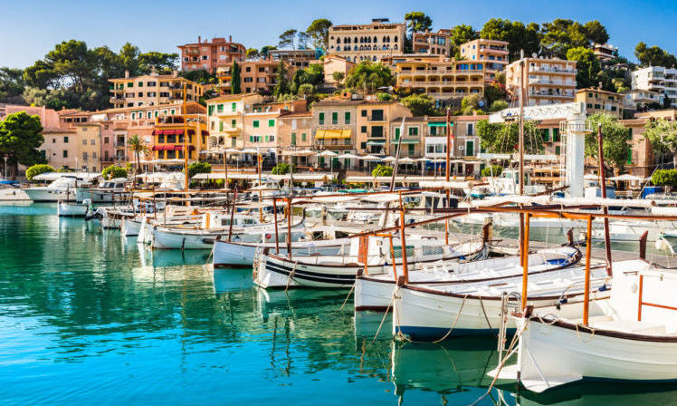 Harbor of Soller on Mallorca, Balearic Islands.