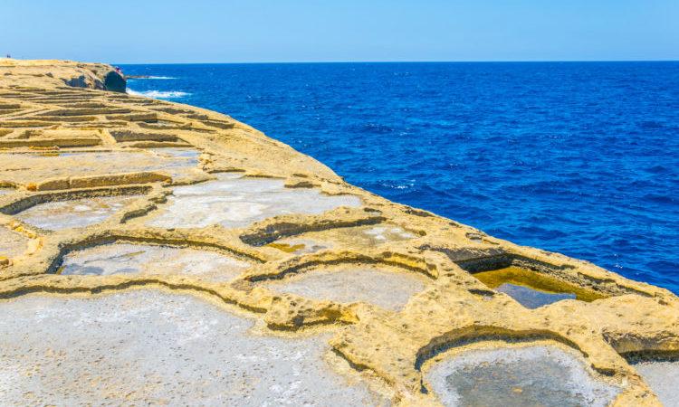 View of salt pans near Marsalforn, Gozo, Malta