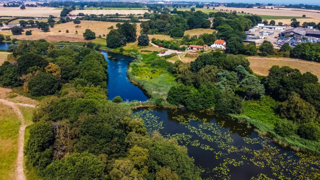 Suffolk countryside from a birdseye view with river