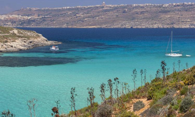 The Blue Lagoon on the small island of Comino off the coast of Gozo, Malta.
