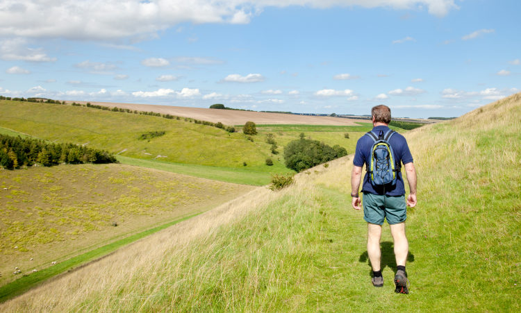 Yorkshire countryside with man walking
