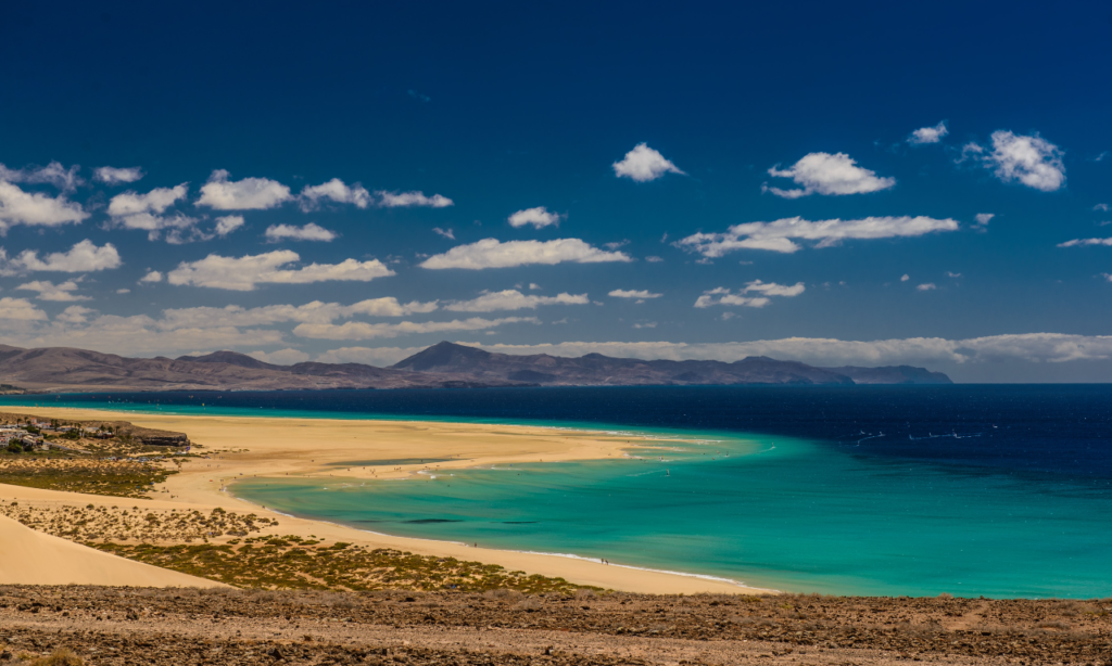 beach and water volcanic landscape of fuerteventura