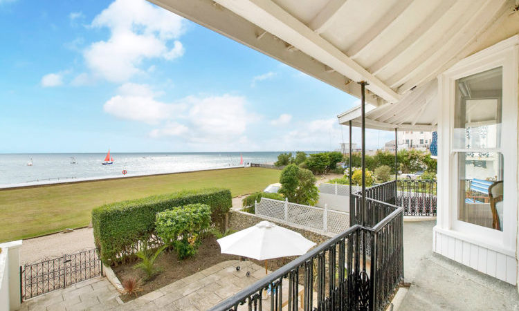 Views over the seaside from the porch of a townhouse in Bognor Regis