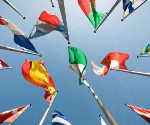 group of eu flags