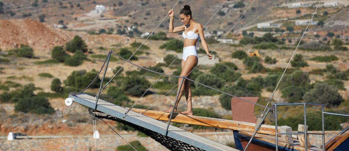 arabella london swimwear photoshoot crete elounda greece