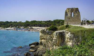 Torre dell'Orso with its high cliffs in Puglia
